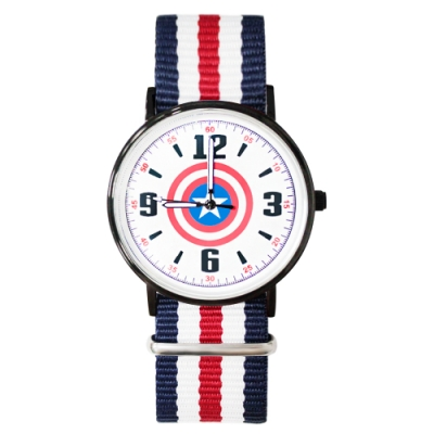 Disney迪士尼 Marvel漫威美國隊長超薄鏡面織紋手錶40mm