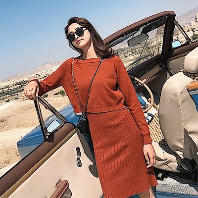 DABI 韓系針織吊帶針織背心裙套裝昂秀裙裝