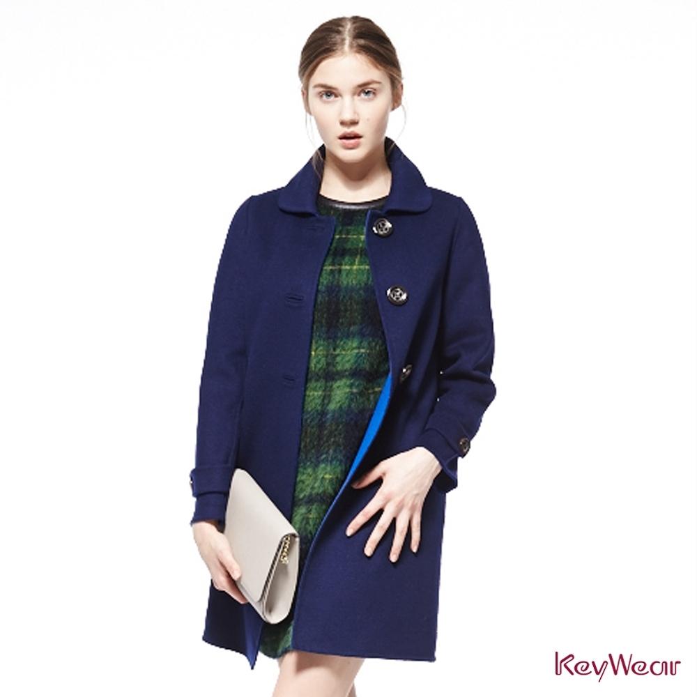KeyWear奇威名品    義大利素材羊毛格紋無袖洋裝-綠色