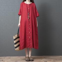 古風文藝排釦圓領洋裝M-2XL(共三色)Keer