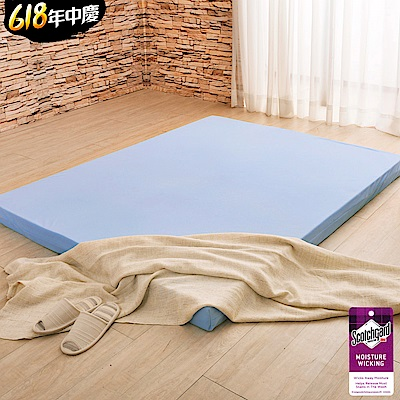 (618限定)雙人5尺-LooCa綠能護背5cm減壓床墊- 搭贈吸濕排汗表布