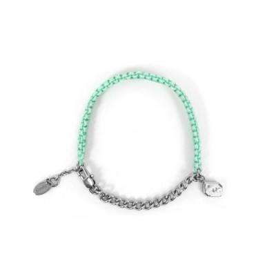 agnes b. - Sport b. 恐龍墜飾白鋼棉繩編織手環(女)