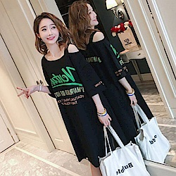 La Belleza綠色英文字印花露單肩斜肩帶長版側開叉棉質洋裝
