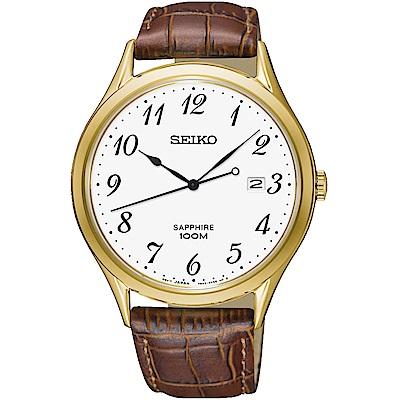 SEIKO精工CS 都會品味藍寶石水晶腕錶(SGEH78P1)-金框/40mm