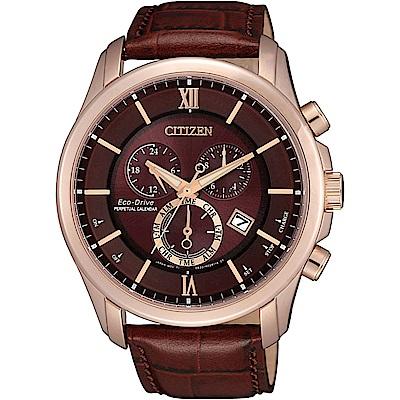 CITIZEN 光動能 農曆新年限定萬年曆計時腕錶(BL5548-19X)-咖啡/43mm