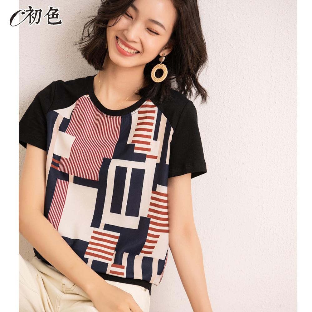 初色  幾何印花涼感T恤-共2色-(M-2XL可選)