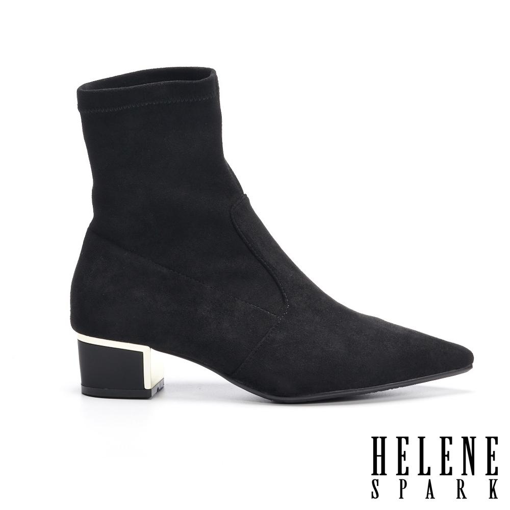 襪靴 HELENE SPARK 極簡時尚金屬元素尖頭粗高跟襪靴-黑