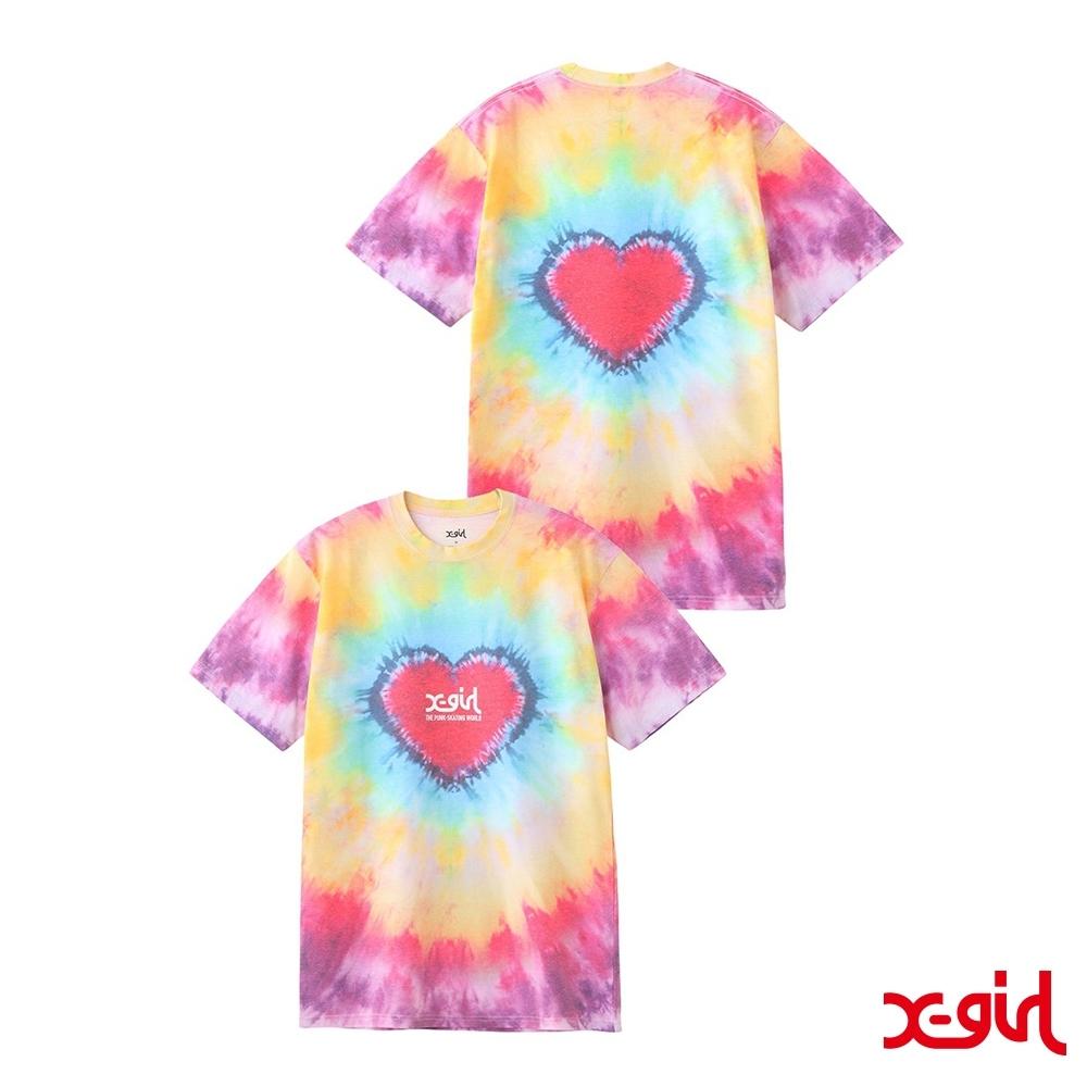 X-girl HEART TIE-DYE S/S TEE愛心渲染短T-多色