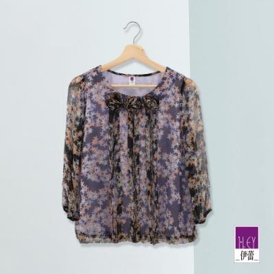 ILEY伊蕾 立體手捏花印花上衣(紫)