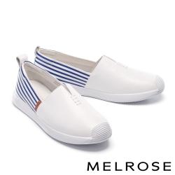 休閒鞋 MELROSE 清新簡約純色全真皮厚底休閒鞋-藍