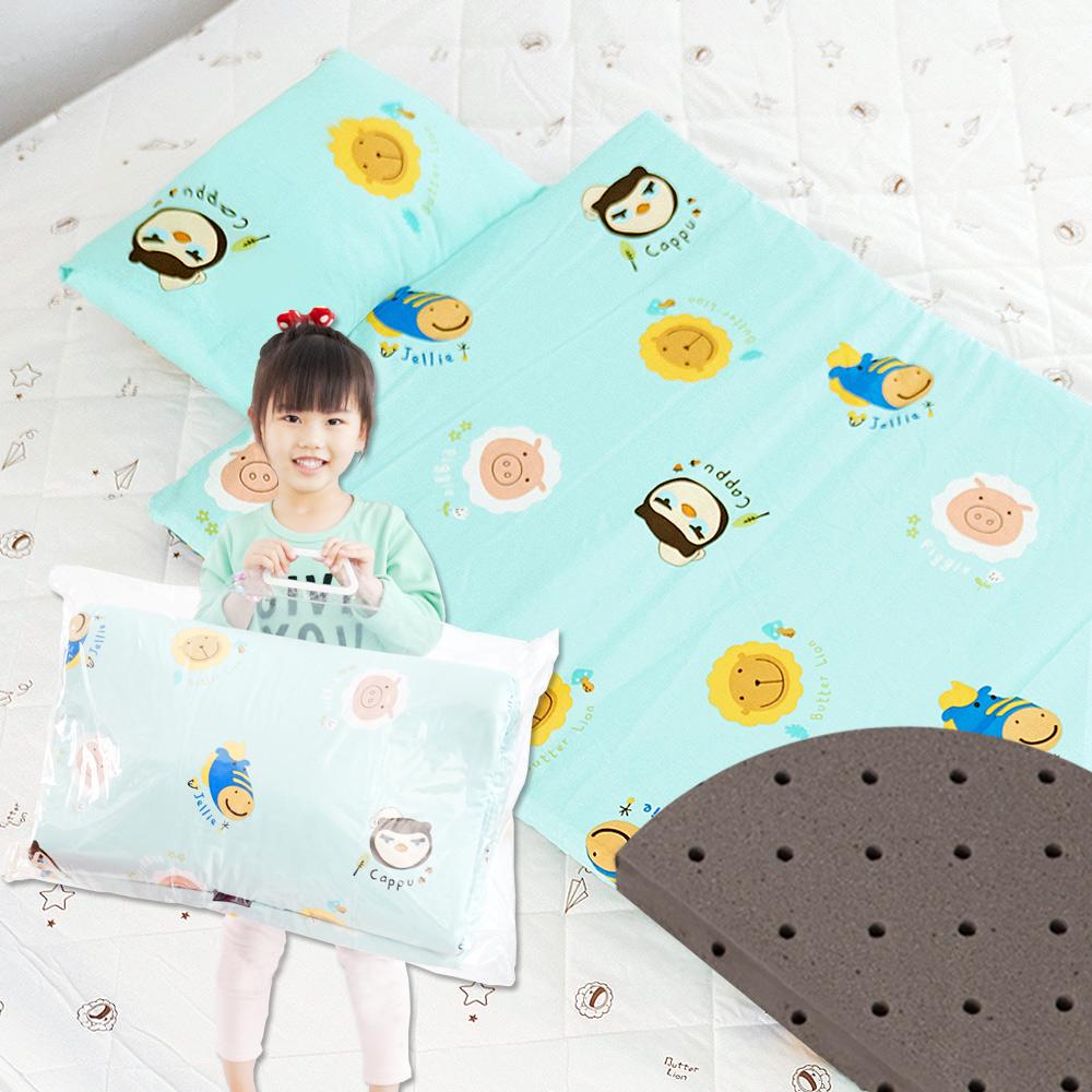 奶油獅-同樂會系列-可黏式收納100%純棉安親午睡記憶睡墊(含枕)-湖水藍