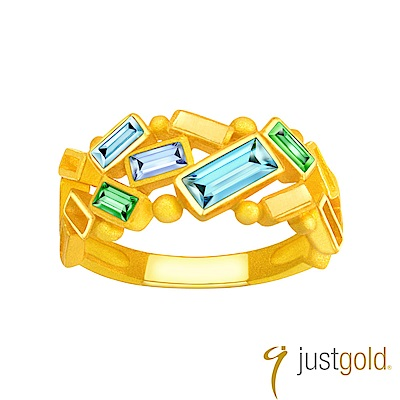 鎮金店Just Gold 瑰麗瑩雪純金系列-黃金戒指(華麗版)