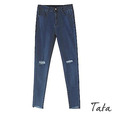 貓鬚刷破刷絨牛仔褲 TATA