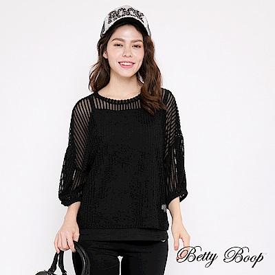 Betty Boop貝蒂 透膚蓬袖兩件式上衣(黑色)