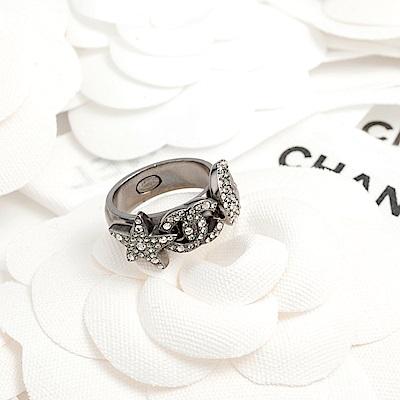 CHANEL 黑鎳合金雙C月亮星星立體戒指 #54