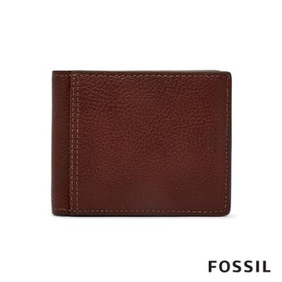 FOSSIL TYLER 真皮RFID帶證件格男夾-咖啡色(無鐵盒)
