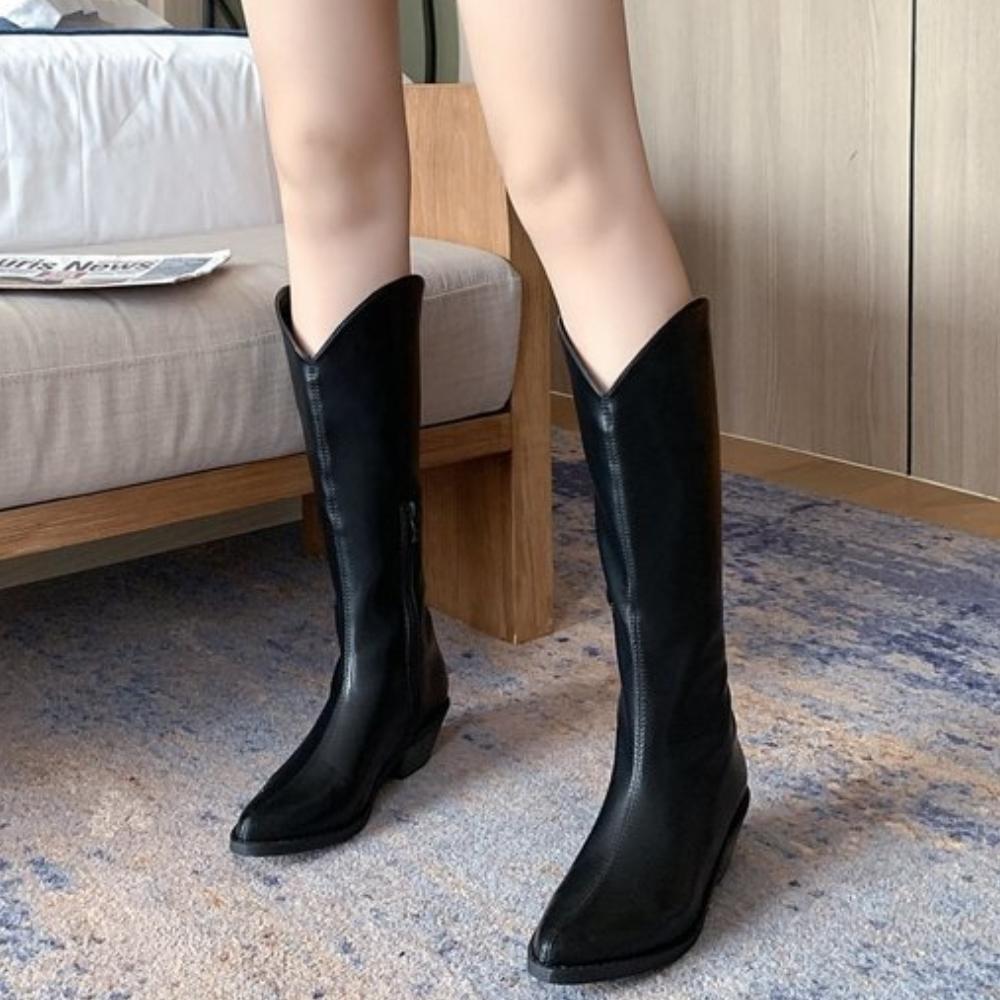 LN 現+預 復古尖頭西部牛仔騎士靴-2色
