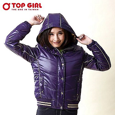 【TOP GIRL】極暖簡約連帽3M舖棉外套 - 深情紫