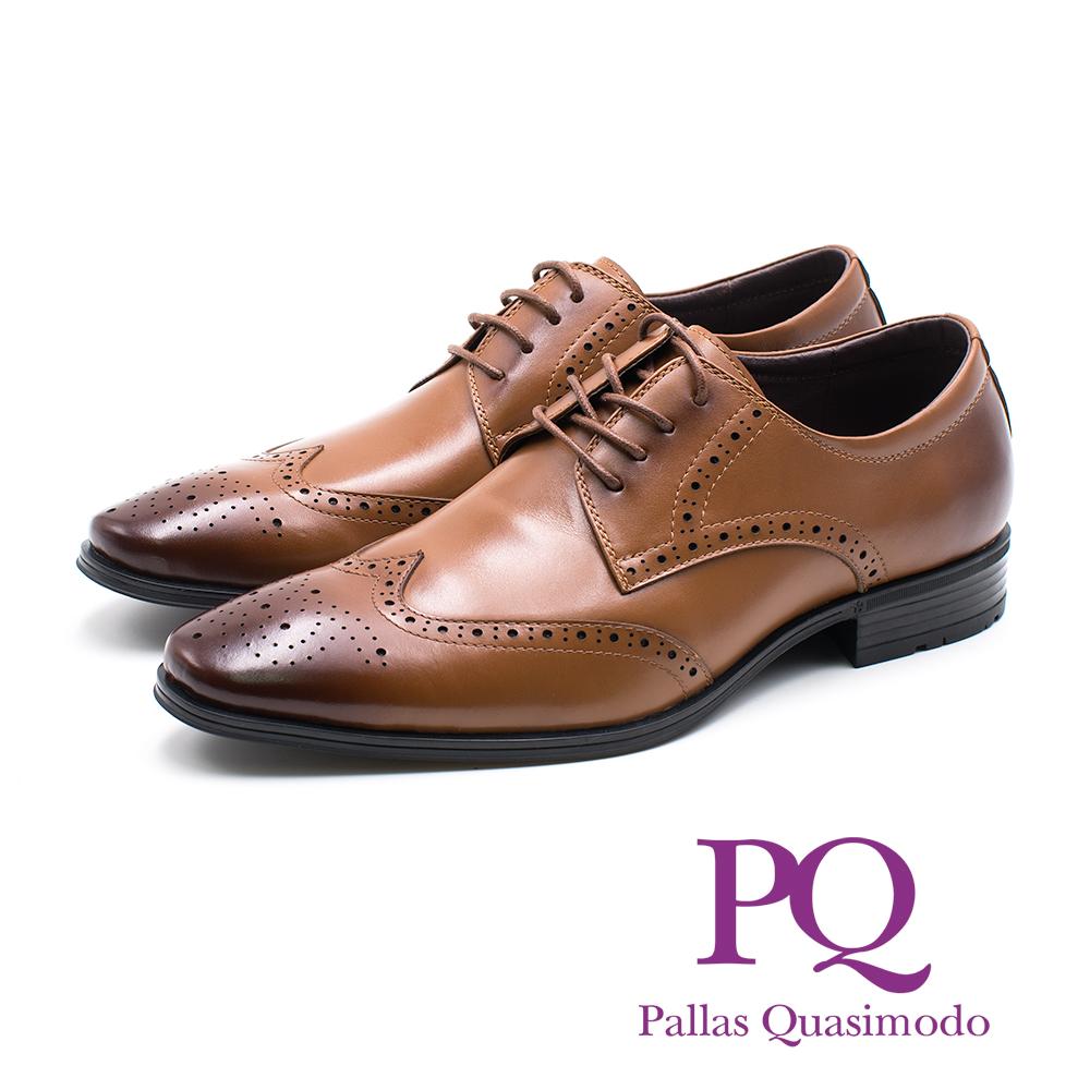 PQ 雕花壓紋綁帶德比鞋 男鞋- 棕
