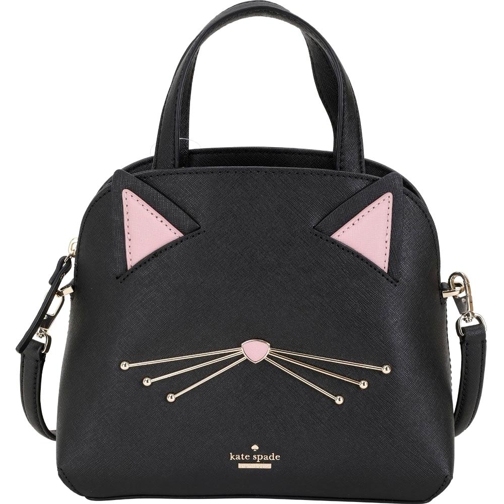 Kate Spade Cat's Lottie 防刮牛皮貓咪臉手提/肩背貝殼包(黑色)