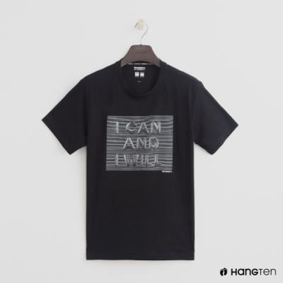 Hang Ten - ThermoContro-亮眼圖樣純色短T - 黑