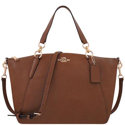 COACH 咖啡色荔枝紋皮革手提/斜背兩用包