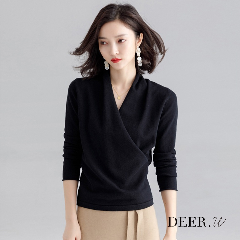 DEER.W 交叉斜襟針織上衣(黑)