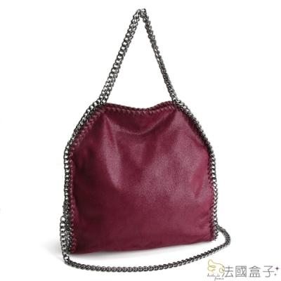 法國盒子 奢華亮面魅力鍊飾肩背包(紅色)