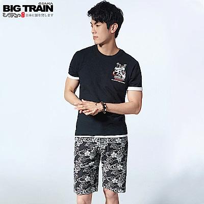 BigTrain滿版流水櫻印花針織短褲-男-黑色