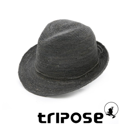 tripose 經典微旅-100%手工Raffia紳士遮陽草帽-單色-帽簷-5cm(灰色)