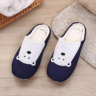 333家居鞋館 兒童款★柔軟北極熊室內布拖鞋-深藍