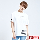 5th STREET 潮感印字 寬長版T恤-女-米白色