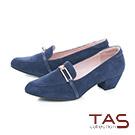 TAS一字金屬扣飾麂皮尖頭樂福粗跟鞋-知性藍