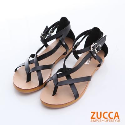ZUCCA-羅馬紋交叉扣環涼鞋-黑-z6328bk