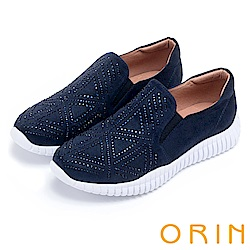 ORIN 時尚渡假風 幾何燙鑽厚底休閒鞋-藍色