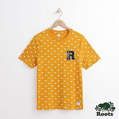 Roots 男裝-滿版海狸印花短袖T恤-黃色