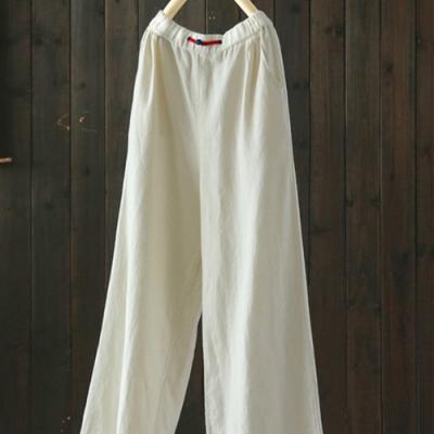 越晃越時尚大長腿盤扣高腰寬管褲棉麻長褲-設計所在
