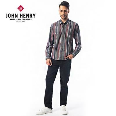 【JOHN HENRY】復古配色直條紋長袖襯衫-綠