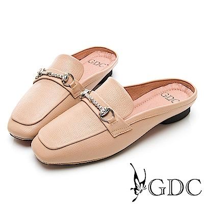 GDC-氣質典雅質感真皮水鑽方頭拖鞋-卡其色