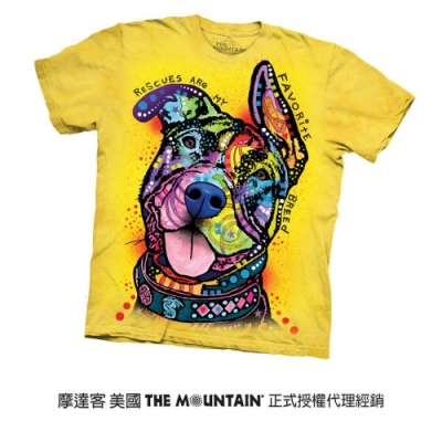 摩達客(預購)美國進口The Mountain 彩繪甩耳比特犬 純棉環保短袖T恤