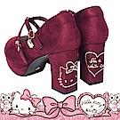 HELLO KITTY X Ann'S LADY美人交叉單色刺繡花瓣娃娃粗跟鞋-酒紅