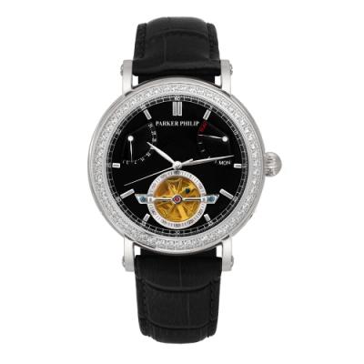 PARKER PHILIP派克菲利浦飛返指針晶鑽鏤空擺輪限量機械錶(銀殻/黑面/黑帶)