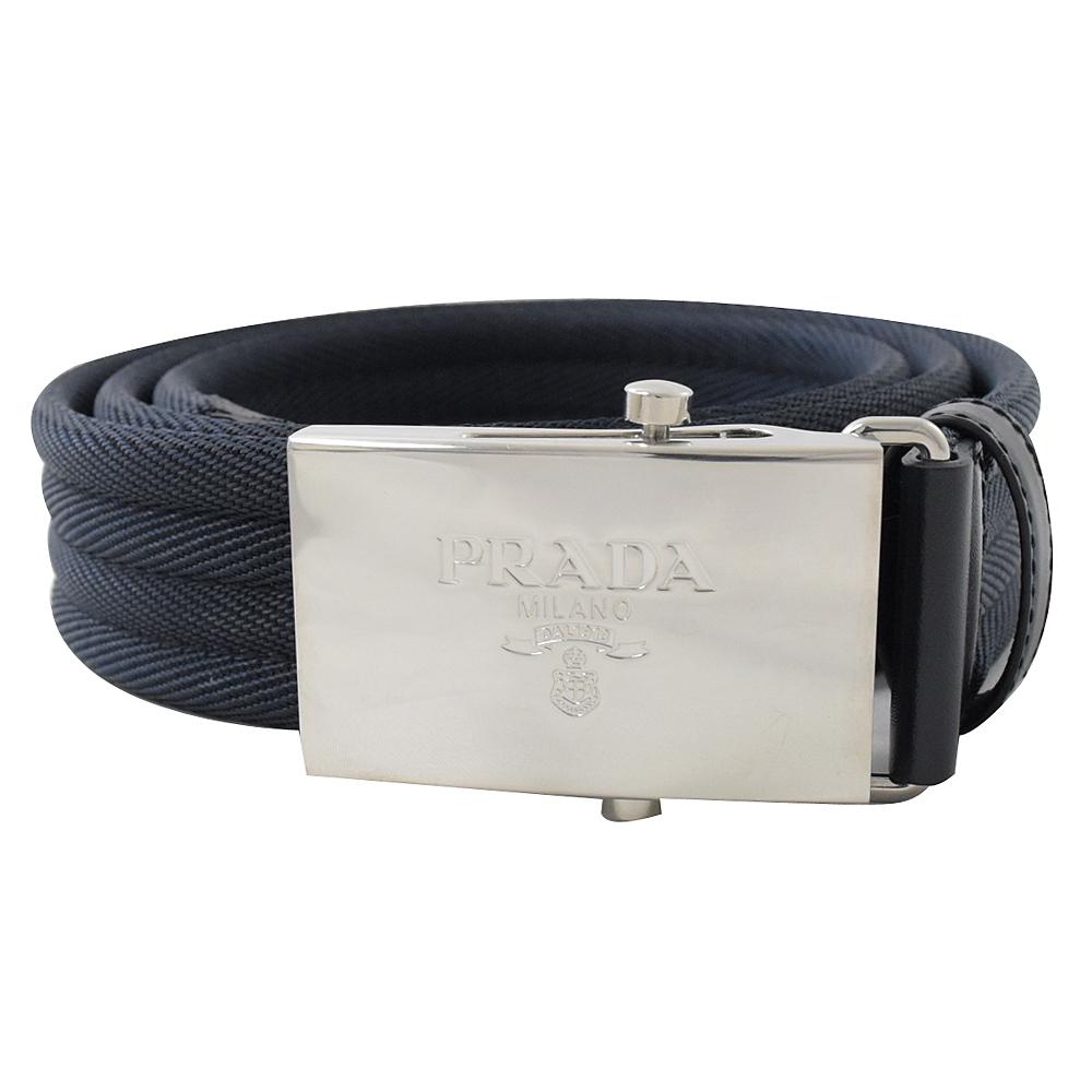 PRADA 烙印LOGO滑扣款織帶皮帶(深藍)