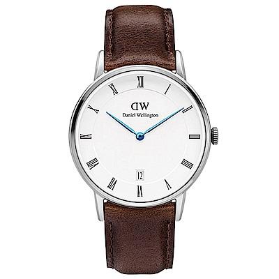 DW手錶 官方旗艦店 34mm銀框 Dapper 深棕真皮皮革手錶