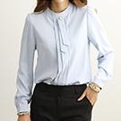 正韓 氣質珍珠雪紡壓摺長袖襯衫 (共二色)-N.C21