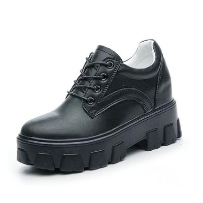 T2R-正韓空運-重工業風格真皮厚底綁帶鞋-增高8cm-黑/白