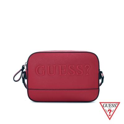 GUESS-女包-簡約素面LOGO壓紋小方包-紅 原價2290