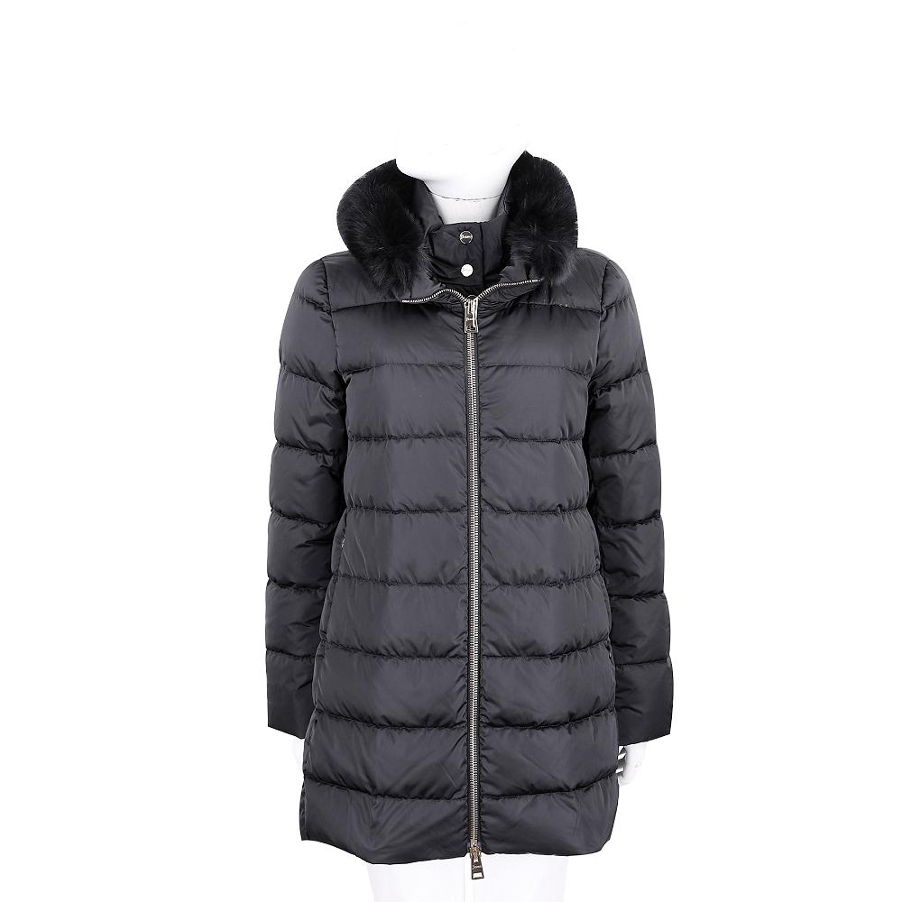 HERNO 黑色絎縫假兩件設計羽絨外套(前釦立領衣片與毛領皆可拆)