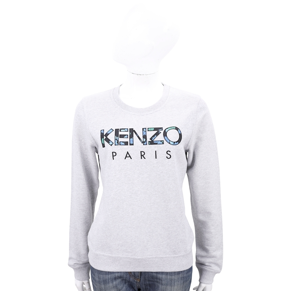 KENZO 印花字母補丁貼淺灰色大學T 運動衫(女款)