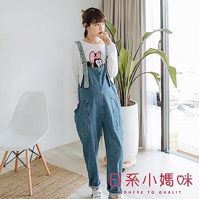 日系小媽咪孕婦裝-韓製孕婦褲~配色吊帶造型連身牛仔褲
